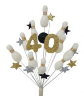 Skittles (10 pin bowling) 40th birthday cake topper in white, black, gold and silver